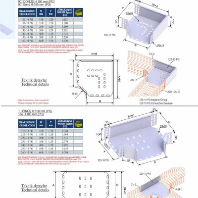 4_H100_K Series Cable Trays PG Series  90° Bends & Economic T Bends