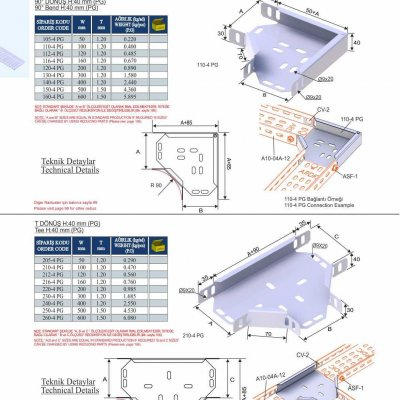5_H40_K Series Cable Trays PG Series  90° Bends & Economic T Bends