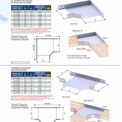 7_H40_K Series Cable Trays HDG Series  90° Bends & Economic T Bends