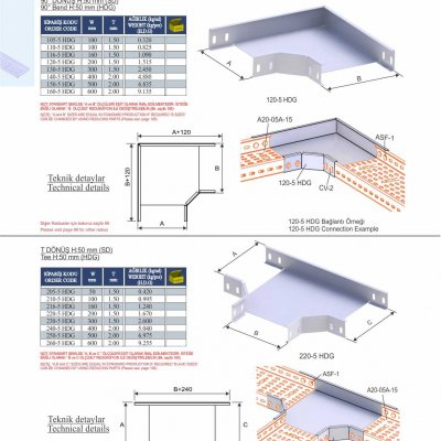 7_H50_K Series Cable Trays HDG Series  90° Bends & Economic T Bends